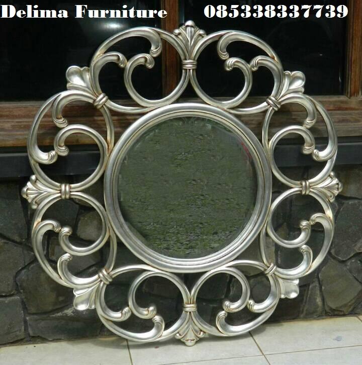 Cermin Hias Klasik Duco Putih Bulat Bulat Ukiran