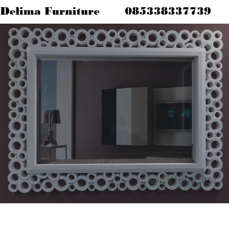 Cermin Hias Klasik Duco Putih Bulat Bulat Mewah