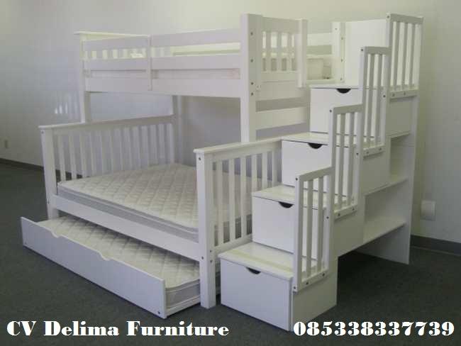 Ranjang Susun Anak Putih 3 Bed