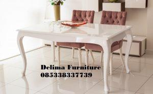 Set Meja Makan Cat Duco Warna Putih