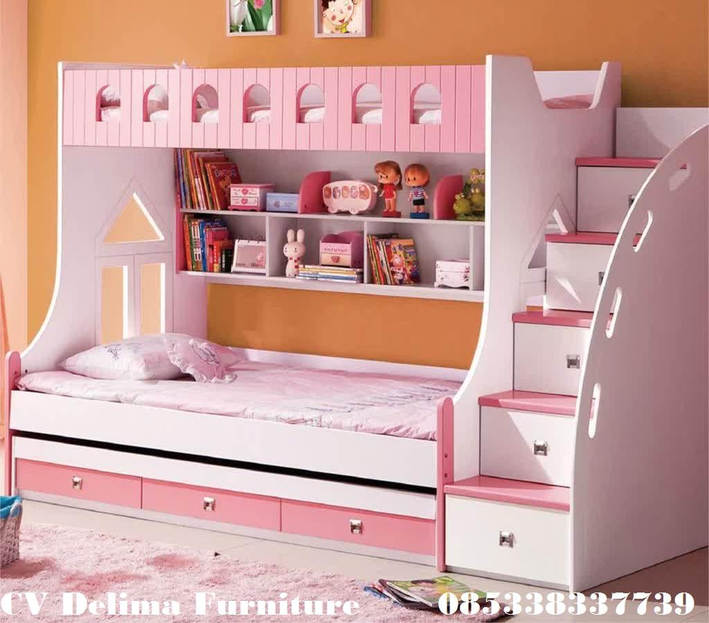 Tempat Tidur Tingkat Anak perempuan Putih Pink