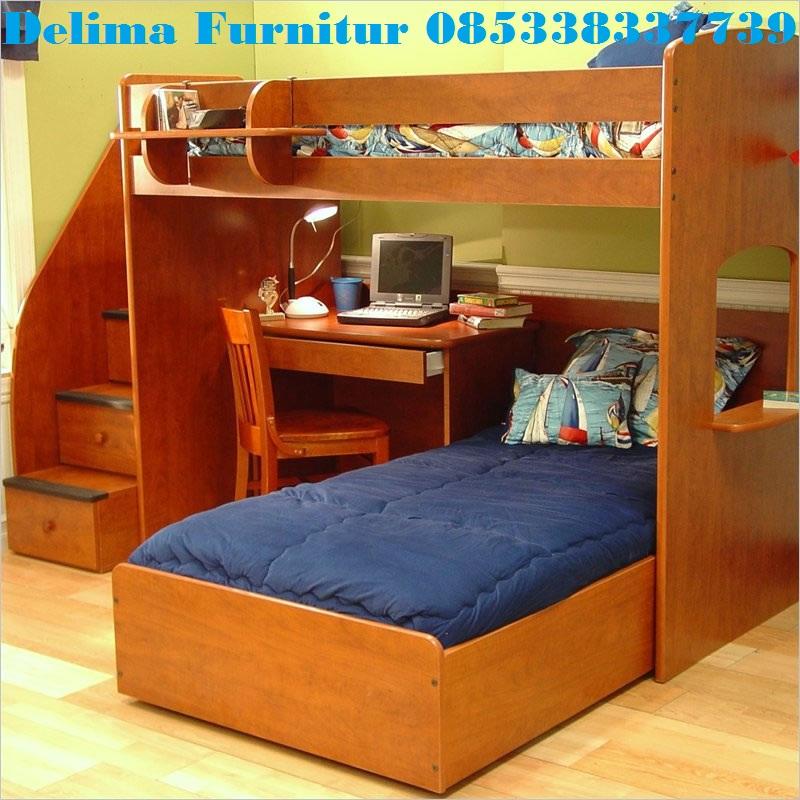 Tempat Tidur Tingkat Bawahnya Meja Belajar Kayu Jati