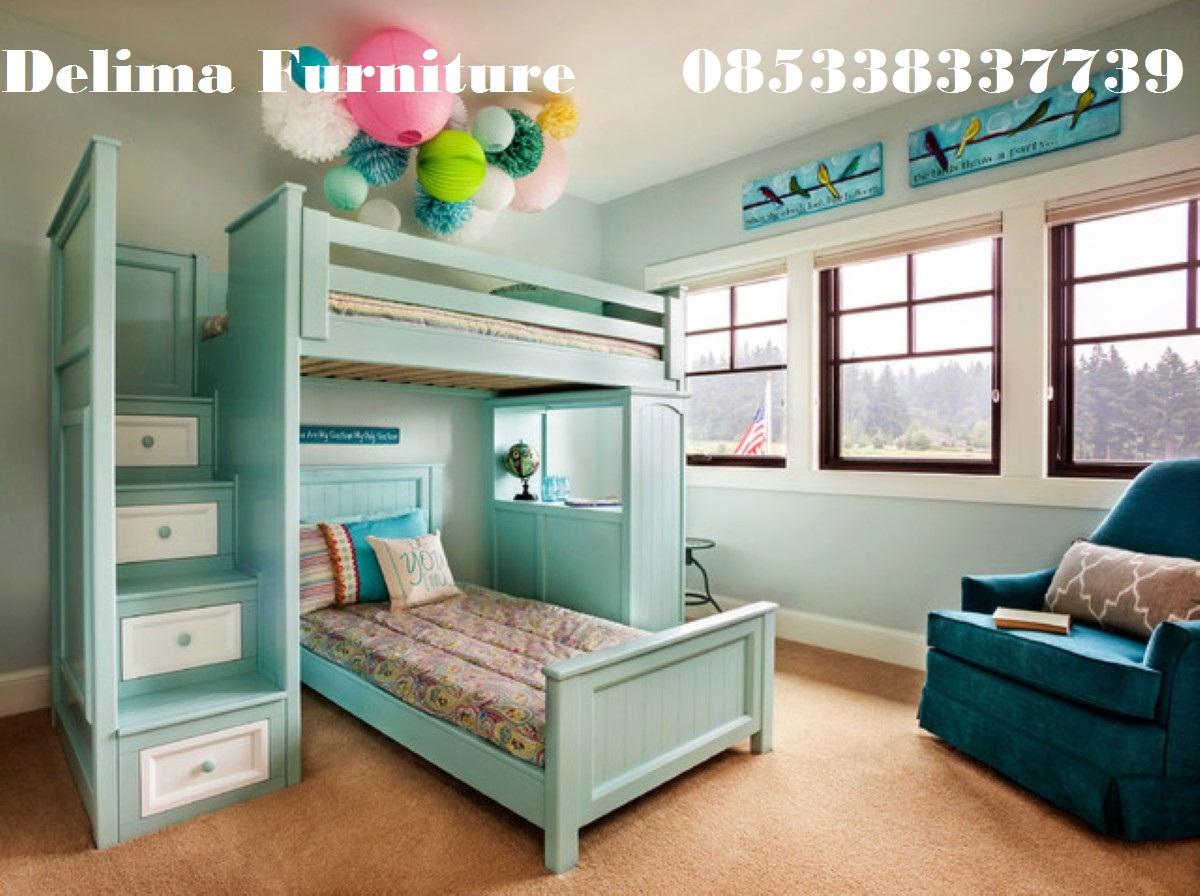 Tempat Tidur Tingkat Bawahnya Meja Belajar Warna Hijau