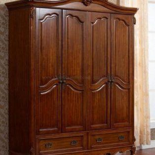 Lemari Pakaian Kayu Jati Klasik 3 Pintu