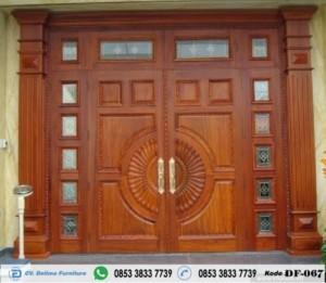 Pintu Kupu Tarung Mewah Modern Kayu Jati