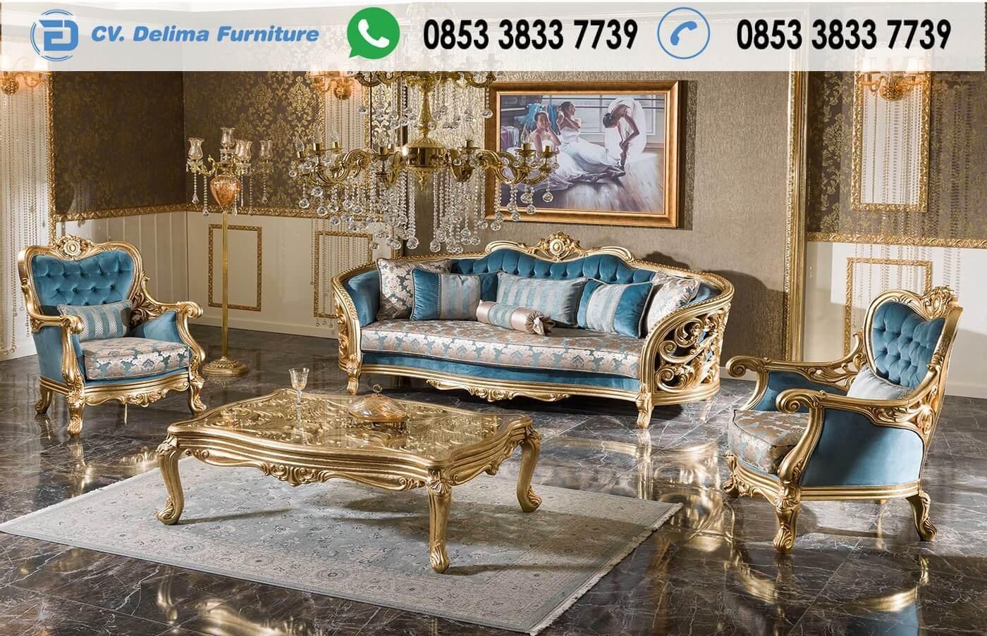 Jual Kursi Tamu Klasik Eropa Ukiran Gold