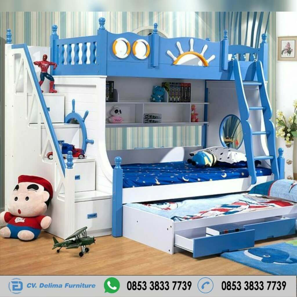 Tempat Tidur Tingkat Minimalis Model Setir Kapal Putih Biru