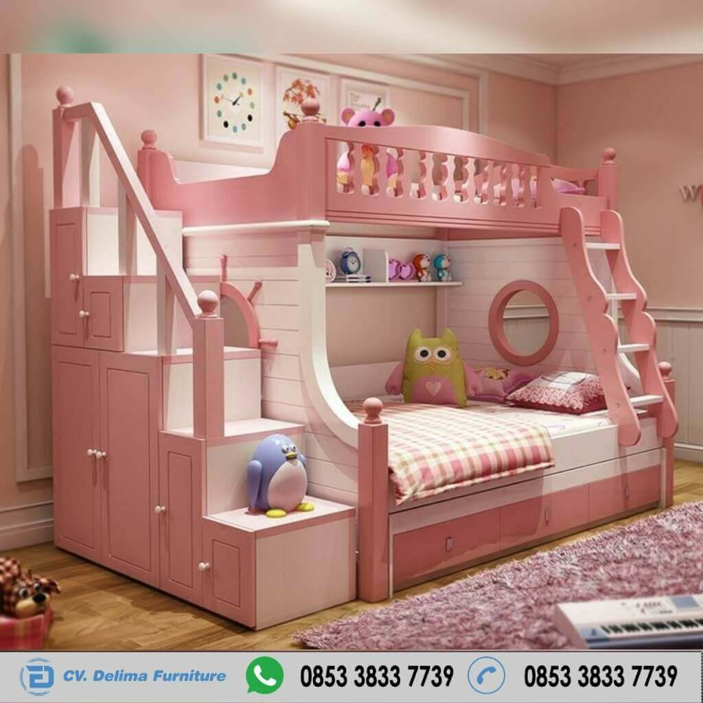 Tempat Tidur Tingkat Minimalis Model Setir Kapal Tangga lemari