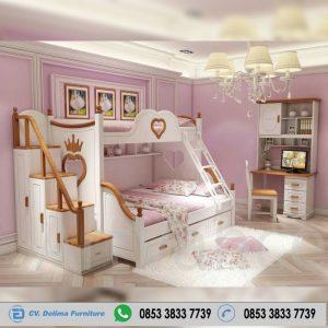 Tempat Tidur Tingkat Anak Perempuan Putih Coklat