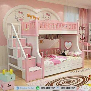 Tempat Tidur Tingkat Hello Kitty Putih Pink