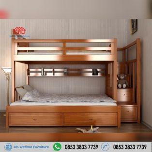 Tempat Tidur Tingkat Kayu Jati Super