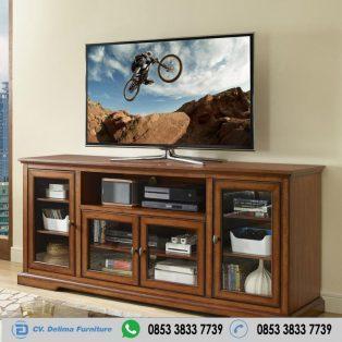 Bufet Tv Minimalis Kayu Jati Transparan