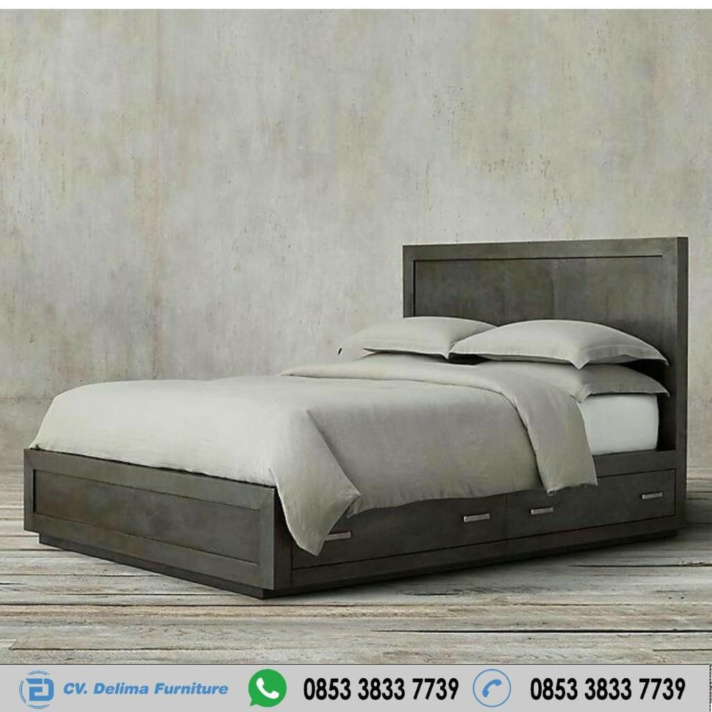 Ranjang Tidur Antik Grey Minimalis Waterbased