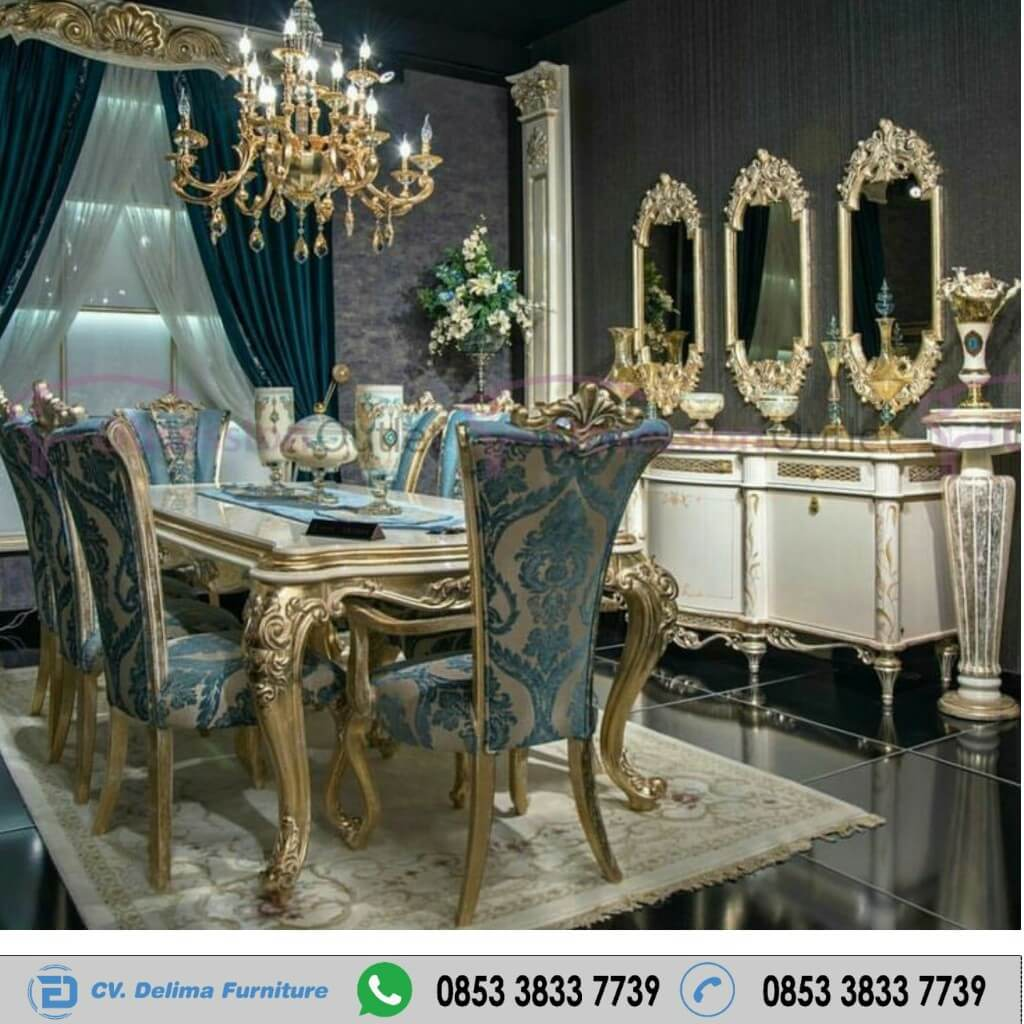 Meja Kursi Makan Ukiran Luxury Gold