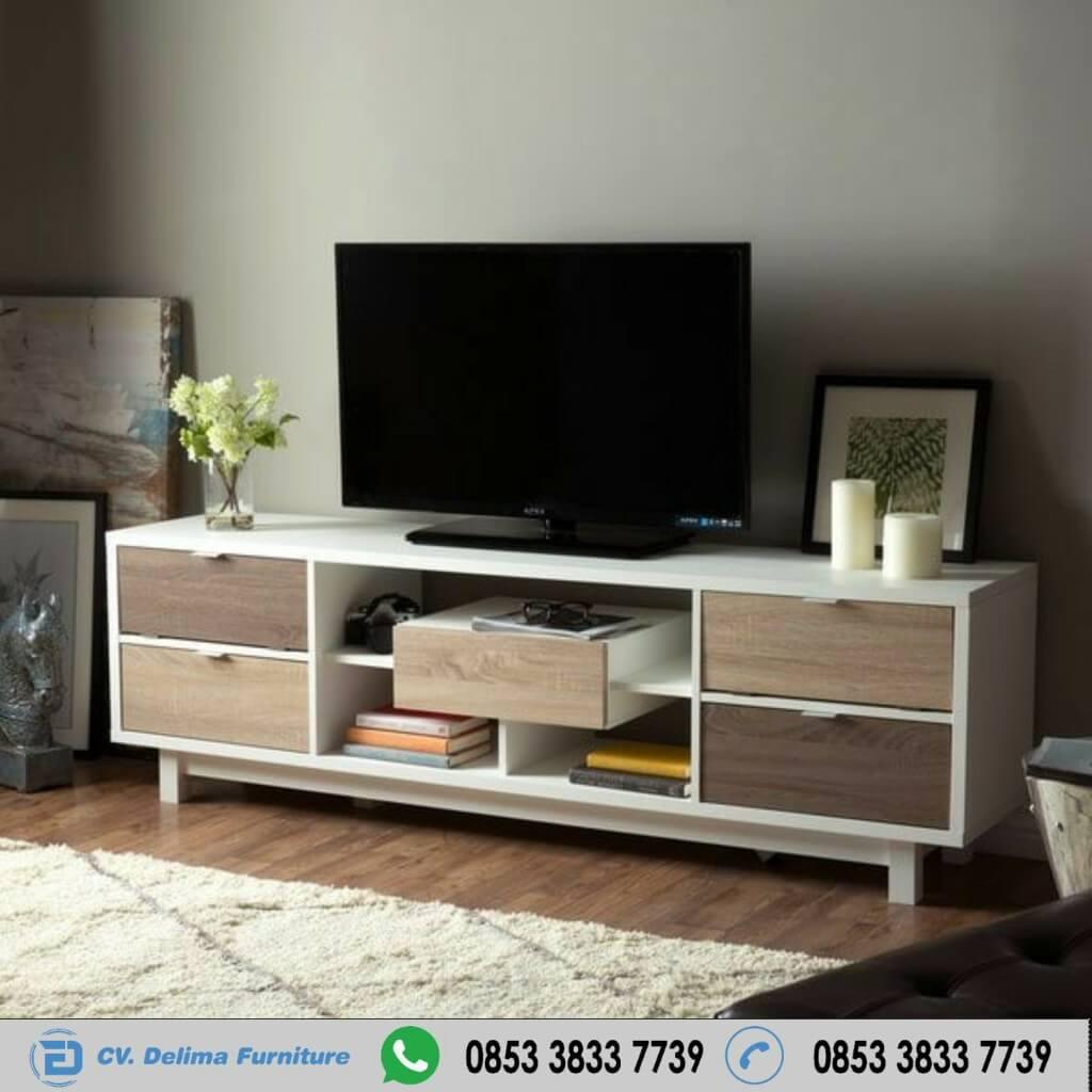 Meja Tv Minimalis Rak Tengah dan Laci